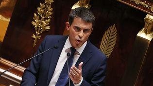 Manuel Valls à l'occasion de son discours de politique générale, mardi 16 septembre 2014, à l'Assemblée, à Paris. (PATRICK KOVARIK / AFP)