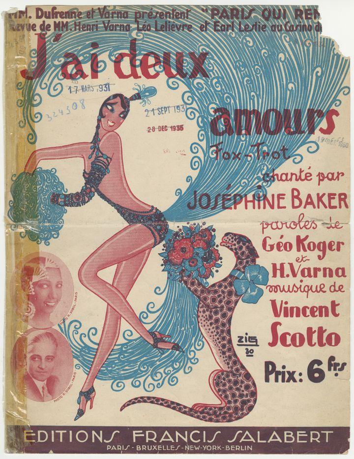 Couverture de partition « J'ai deux amours »  (Editions Francis Salabert/ Fonds Sacem)