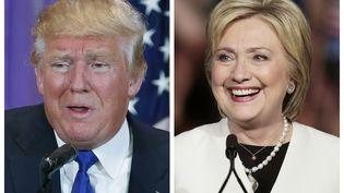 Le candidat à la primaire républicaine Donald Trump et sa rivale démocrate Hilary Clinton, en tête dans la course à la présidentielle américaine. (JIM TANNER / REUTERS)