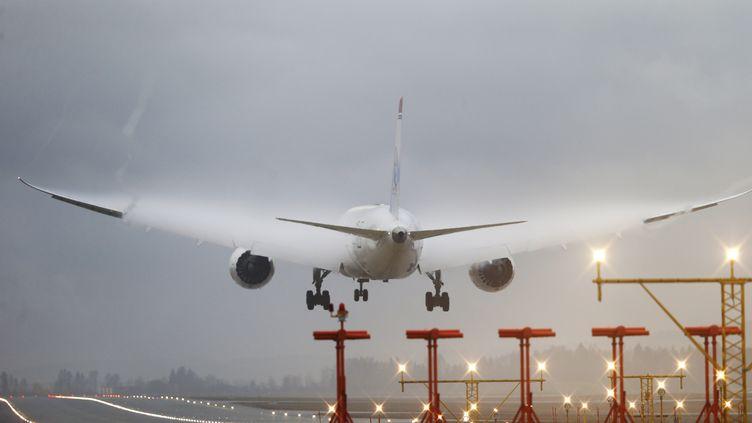 Un avion décolle de l'aéroport d'Oslo, le 8 janvier 2014. (POPPE, CORNELIUS / NTB SCANPIX / AFP)