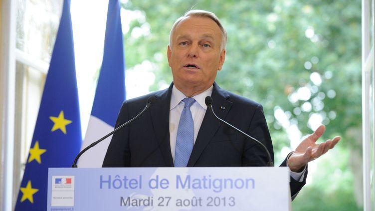 Le Premier ministre, Jean-Marc Ayrault, lors de la présentation de la réforme des retraites à Matignon, à Paris, le 27 août 2013. (WITT / SIPA)