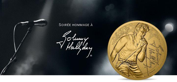 Pièce commémorative pour les deux ans de la mort de Johnny Hallyday édité par la Monnaie de Paris. (Monnaie de Parie)