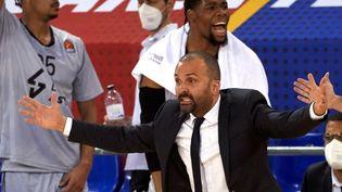 T.J. Parker, l'entraîneur de l'ASVEL, durant la victoire du club français sur le parquet du FC Barcelone (69-76) en Euroligue, le 26 février 2021. (MAXPPP)