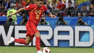 L'attaquant belge Eden Hazard face au Brésil, en quarts de finale de la Coupe du monde, le 6 juillet 2018, à Kazan (Russie). (DIRK WAEM / BELGA MAG)