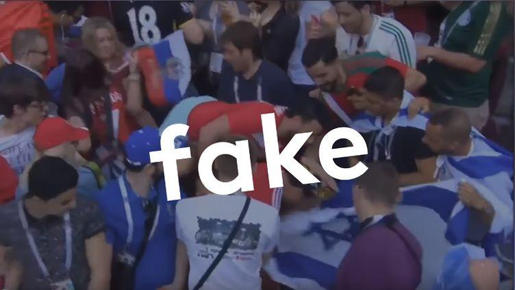 Supporters marocains et israéliens lors du match de Coupe du monde entre leMaroc et le Portugal, le20 juin 2018. (CAPTURE D'ÉCRAN)