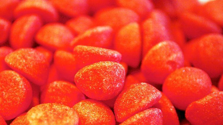 Les fraises Tagadaétaient destinées à être distribuées avec le programme du candidat Macron àToulouse à l'occasion de la Journée des droits de la femme, le 8 mars 2017. (BERULLIER MAX / MAXPPP)