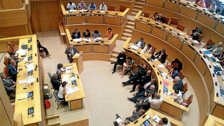 Une séance du conseil régional de Languedoc-Roussillon, à Montpellier (Hérault), en juin 2014. (MAXPPP)