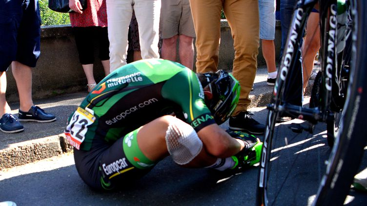 Bryan Coquard, épuisé après l'étape du jour.  (PICASA)