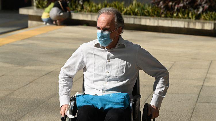 L'entrepreneur français Mathias Echène en novembre 2020 à Hong Kong. Il avait alors obtenu une libération sous caution. (PETER PARKS / AFP)