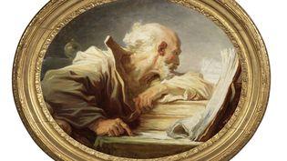 """""""Un philosophe lisant"""", deJean-HonoréFragonard, toile ovale d'origine 45.8 x 57 cm. (détails) (Christian Baraja / Artcento)"""