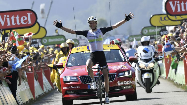 Stephen Cummings à l'arrivée de la 7e étape du Tour de France 2016.  (JEFF PACHOUD / AFP)