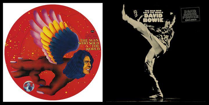 """La pochette allemande de """"The Man Who Sold The World"""" (1970) de David Bowie et la version, plus connue, de la réédition en 1971 par le label RCA. (MERCURY - RCA)"""