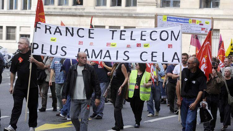 Manifestation d'employés de France Télécom, le 7 octobre 2009, à Nancy (Meurthe-et-Moselle). (POL EMILE / SIPA)