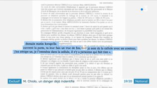 Extrait d'un document de l'administration pénitentiaire sur la dangerosité de Michaël Chiolo, en 2016, à Besançon (Doubs). (FRANCE 3)