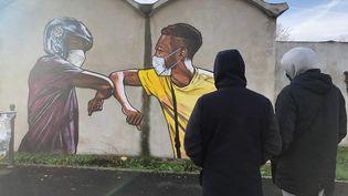 Une fresque inspirée par le coronavirus, signée de l'artiste Vince, à la cité de la Grande-Borne, à Grigny. (BASTIEN MUNCH / RADIOFRANCE)