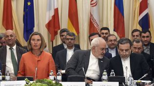 La cheffe de la diplomatie de l'UE, Federica Mogherini, etle ministre iranien des Affaires étrangères, Javad Zarif (à droite), le 6 juillet 2018 à Vienne (Autriche). (HANS PUNZ / APA / AFP)