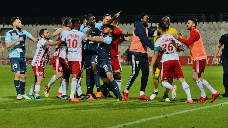 La rencontre entre Ajaccio et Le Havre en barrage de Ligue 2, à Ajaccio, le 20 mai 2018. (MAXPPP)