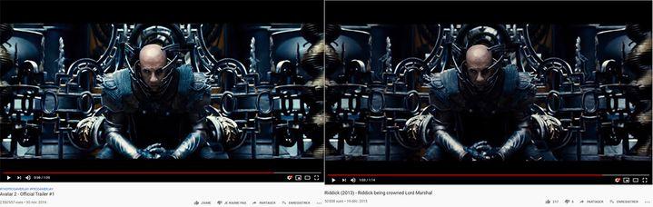 """À gauche, une capture d'écran du faux trailer d'""""Avatar 2"""", sorti le 30 novembre 2019 et à droite, un extrait de """"Riddick"""", posté sur YouTube en 2015. (CAPTURE ECRAN YOUTUBE)"""