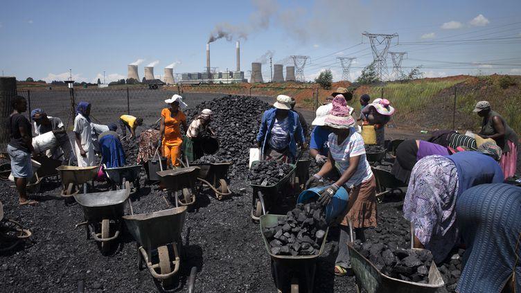 En Afrique du sud, des femmes ramassent du charbon, non loin de la centrale électrique de Duvha, appartenant à la société nationale d'électricité Eskom. Photo prise le 5 février 2015 à Emalahleni.  (MARCO LONGARI / AFP)