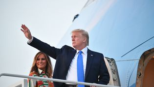 Donald Trump sur la base aérienne d'Andrews (Etats-Unis), le 2 juin 2019. (MANDEL NGAN / AFP)