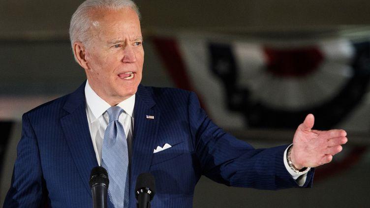 L'ancien vice-président et candidat à la primaire démocrate, Joe Biden, le 10 mars 2020 à Philadelphie (Pennsylvanie, Etats-Unis). (MANDEL NGAN / AFP)