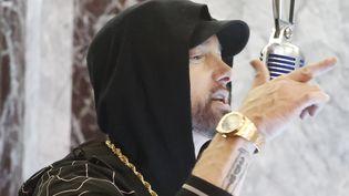 """Le rappeur américain Eminem le 15 octobre 2019 dans l'émission """"Jimmy Kimmel Live!"""" sur ABC. (RANDY HOLMES / WALT DISNEY TELEVISION/ GETTY)"""