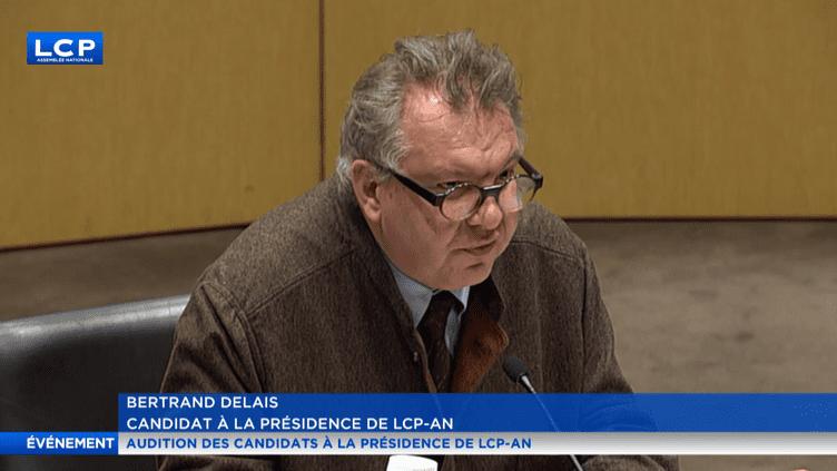 Le nouveau patron de LCP-AN, Bertrand Delais, lors de son audition à l'Assemblée nationale en tant que candidat à la présidence de la chaîne, le 12 février 2018. (LCP)