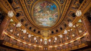 Les dorures de l'Opéra royal du Chateau de Versailles, photographie d'octobre 2019. (BERTRAND GUAY / AFP)
