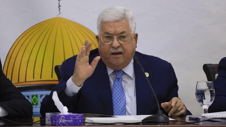 Le président de la Palestine Mahmoud Abbas pendant le Conseil Révolutionnaire du Fatah à Ramallah, capitale administrative de l'autorité palestinienne, le 18 décembre 2019. (ISSAM RIMAWI / ANADOLU AGENCY / AFP)