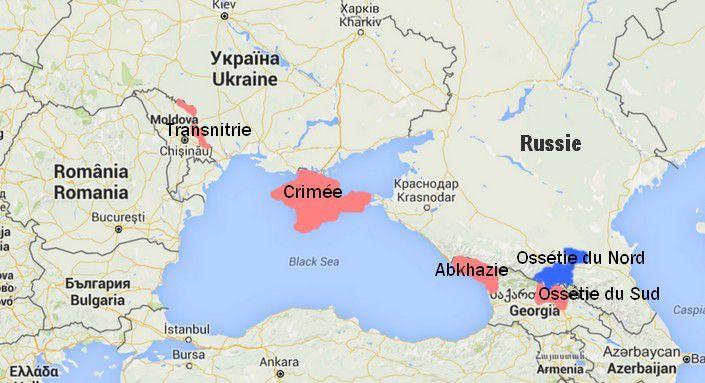 Transnitrie, Crimée, Abkhazie, Ossétie du Sud, des régions sécessionnistes contrôlées par la Russie. (Google Maps)