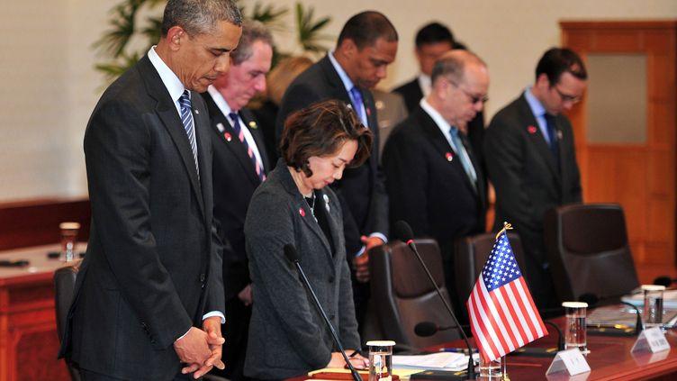 Le président américain Barack Obama, le 25 avril 2014 à Séoul (Corée du Sud). (JUNG YEON-JE / AFP)