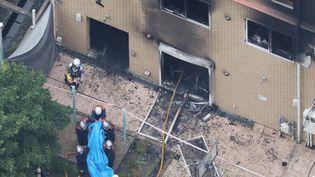 Un incendie dans un studio d'animation dans la région de Kyoto (Japon) a fait plusieurs dizaines de morts, jeudi 18 juillet 2019. (TAKUYA YOSHINO / YOMIURI / AFP)