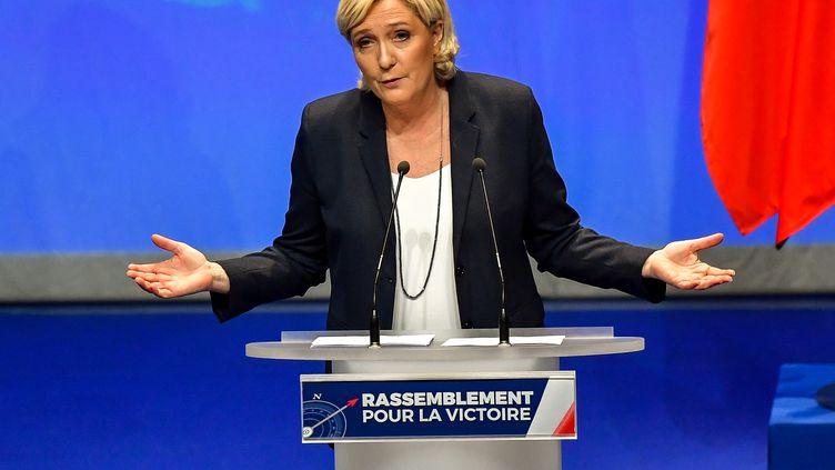 Marine Le Pen,présidente du Front national lors du congrès du FN à Lille, le 11 mars 2018. (PHILIPPE HUGUEN / AFP)