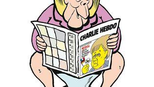 """L'affiche conçue pour la promotion de la version allemande de """"Charlie Hebdo"""" à paraître le 1er décembre 2016. (CHARLIE HEBDO / AFP)"""