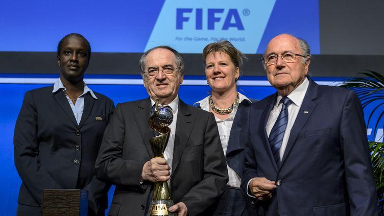 Noël Le Graet aux côtés de Sepp Blatter lors de l'attribution à la France de l'organisation de la Coupe du monde féminine en 2019. (FABRICE COFFRINI / AFP)