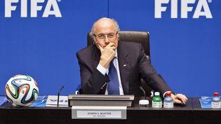 Le président de la Fifa, Joseph Blatter, le 21 mars 2014 au siège de l'organisation à Zurich (Suisse). (MICHAEL BUHOLZER / AFP)