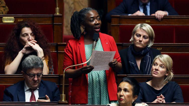 La députée de La France insoumise Danièle Obono, à l'Assemblée nationale, le 13 mars 2019. (THOMAS SAMSON / AFP)