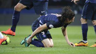 L'attaquant du PSG Edinson Cavani, lors du match contre Monaco, le 20 mars 2016 au Parc des Princes. (STEPHANE ALLAMAN / DPPI / AFP)