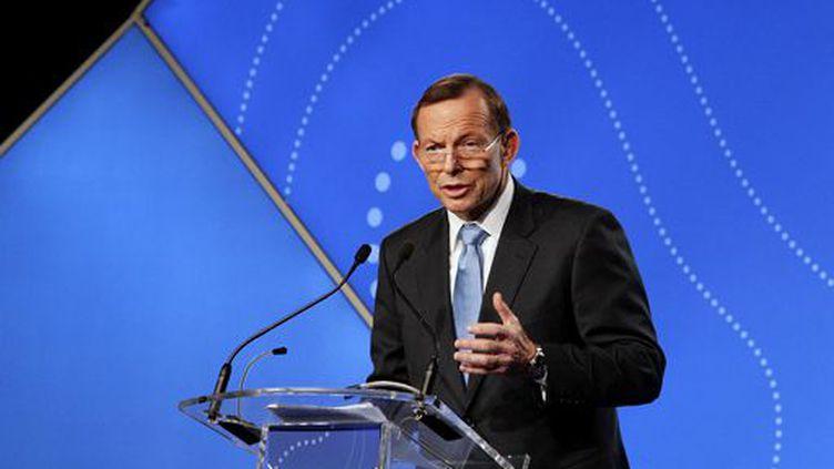Le premier ministre conservateur australien,Tony Abbott, prononçant un discours à Sydney le 17 juillet 2014. (Reuters - Lisa Maree Williams - Pool)