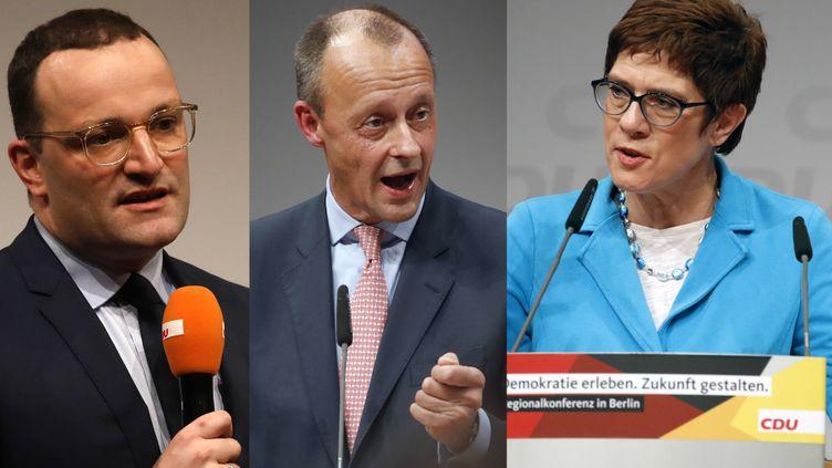Jens Spahn, Friedrich Merz et Annegret Kramp-Karrenbauer, les trois prétendants à la succession d'Angela Merkel (RADIO FRANCE)