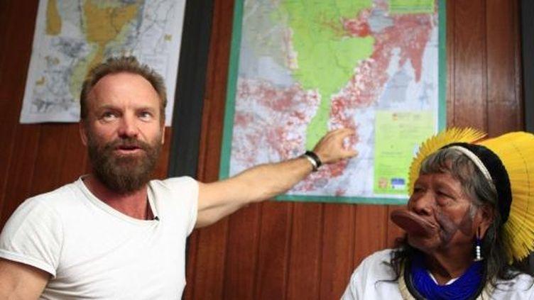 Sting et le chef indien Raoni lors d'une conférence de presse commune à Sao Paulo  (WLADIMIR DE SOUZA / AFP)