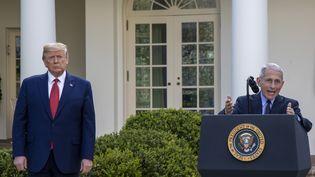 Le président américain, Donald Trump, et son conseiller Anthony Fauci le 29 mars 2020 à la Maison Blanche. (TASOS KATOPODIS / GETTY IMAGES NORTH AMERICA / AFP)
