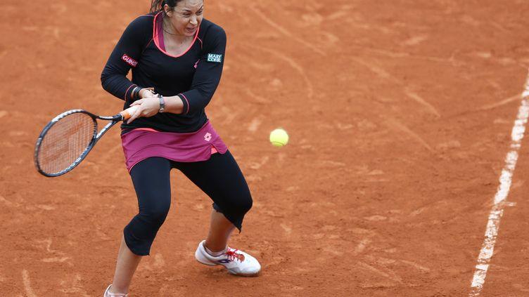 Marion Bartoli lors de son match contre la ColombienneMariana Duque-Marino, vendredi 31 mai 2013 à Roland-Garros (Paris). (PATRICK KOVARIK / AFP)