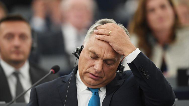 Le Premier ministre hongrois Viktor Orban lors des débats au Parlement européen sur la situation de la Hongrie, le 11 septembre 2018 à Stasbourg (Bas-Rhin). (FREDERICK FLORIN / AFP)