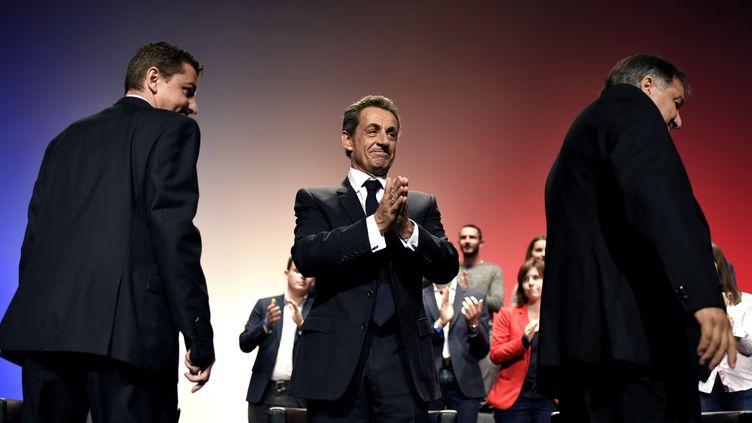 Le président du parti Les Républicains, Nicolas Sarkozy, le 3 octobre 2015 à Saint-Etienne (Loire). (JEFF PACHOUD / AFP)