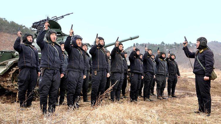 Une image des troupes nord-coréennes transmise par l'agence officielle KCNA. (KCNA / REUTERS)