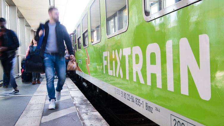 Un train de la compagne FlixTrain à Hanovre (Allemagne), le 23 mai 2019. (JULIAN STRATENSCHULTE/DPA/AFP)