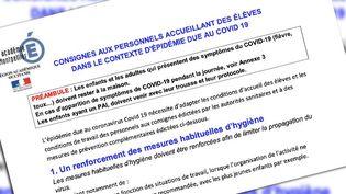 Capture écran du document qui liste les consignes pour le personnel enseignant. (CAPTURE ECRAN)