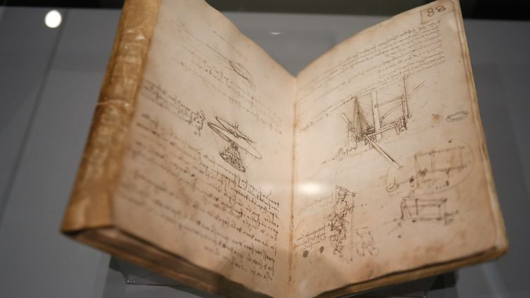 Les dessins techniques de la machine volante de Léonard de Vinci, exposés au Louvre, le 23 octobre 2019. (FRANCOIS GUILLOT / AFP)