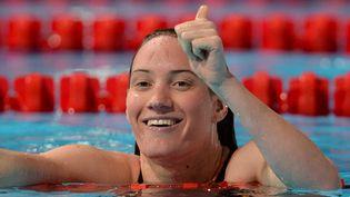 Camille Muffat, après sa qualification en série sur le 200m nage libre, mardi 30 juillet 2013, lors des Mondiaux de Barcelone (Espagne). (FRANCOIS XAVIER MARIT / AFP)